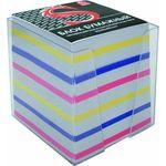 Блок бумажный, четырехцветный, в пласт. подставке, разм. 9х9х9 см, офсет 65 гр, SPC9903