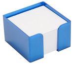 Блок бумажный, белый, в пласт. подставке GLOSS синий, разм. 8х8х5 см, ПВ124