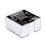 Блок бумажный, белый, в пласт. прозрачной подставке с блестками, разм. 9х9х5 см, ПВ64