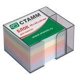 Блок бумажный, пастельный, в пласт. тонированной подставке, с отд. для ручек, разм. 9х9х6 см, ПЦ12