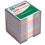 Блок бумажный, цветной, в пластмассовой тонированной подставке, размер 8х8х8 см ( СТАММ ) артикул ПЦ22