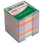 Блок бумажный, цветной, в пластиковой серой подставке, размер 9х9х9 см. ( СТАММ ) артикул ПЦ42
